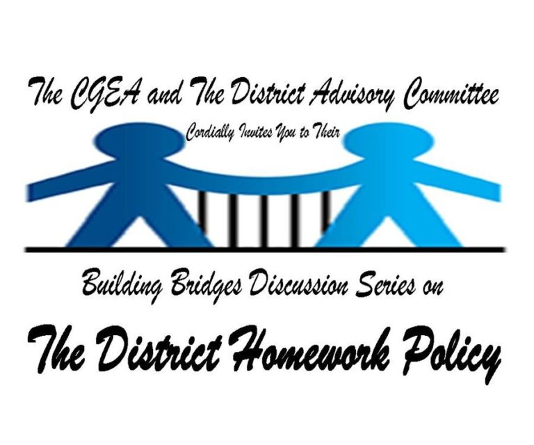 CGEA PRIDE Presents Building Bridges Discussion Series on The District Homework Policy